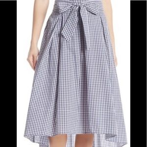 Gingham Plaid Print High/Low Skirt